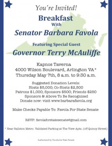 Senator Favola Breakfast with Governor McAuliffe! @ Kapnos Taverna | Arlington | Virginia | United States