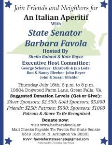 Italian Aperitifs with State Senator Barbara Favola @ Home of Sheila Rabaut | Great Falls | Virginia | United States