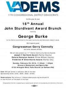 16th Annual Sturdivant Award Brunch (11th CD Dems) @ Grevey's Restaurant & Sports Bar | Falls Church | Virginia | United States