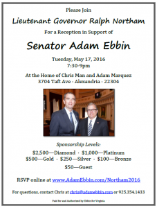 Reception for Senator Adam Ebbin with Lt. Gov. Ralph Northam @ Home of Chris Man and Adam Marquez | Alexandria | Virginia | United States