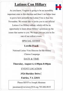Latinos Con Hillary @ Residence of Cecilia Williams | Fairfax | Virginia | United States