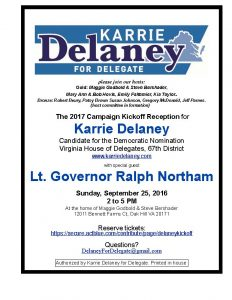 Karrie Delaney Campaign Kickoff with Lt. Gov. Northam @ Home of Maggie Godbold and Steve Bershader