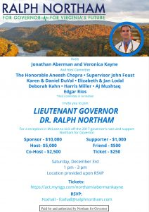 Join LG Northam in McLean on Dec. 3rd! @ Home of Jonathan Aberman and Veronica Kayne