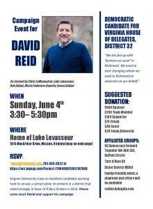 SEND DAVID REID TO RICHMOND!  Fundraiser & Reception Hosted by VA Democracy Forward @ Luke Levasseur's Home in McLean | McLean | Virginia | United States