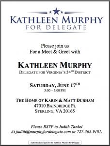 Kathleen Murphy Meet and Greet @ The Home of Karin and Matt Durham | Sterling | Virginia | United States