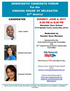 Democratic Candidate Forum for VA HD 67th District @ Mountain View School