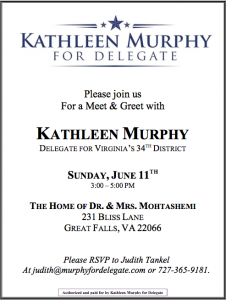 Kathleen Murphy Meet and Greet @ The Home of Dr. and Mrs. Mohtashemi | Great Falls | Virginia | United States