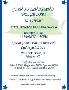 Afternoon Reception with Senator Barbara Favola @ Home of Senator Barbara Favola | Arlington | Virginia | United States