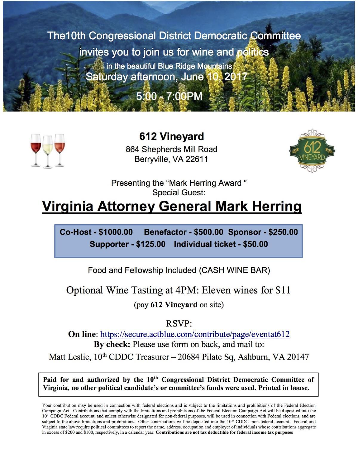 "10th CD ""Mark Herring Award"" event @ 612 Vineyard | Berryville | Virginia | United States"