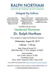 Delegate Rip Sullivan Fundraiser for Ralph Northam @ Offices of Bean, Kinney & Korman, P.C. | Arlington | Virginia | United States