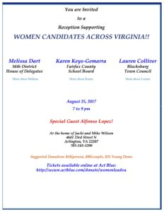 Reception Supporting Women Candidates Across Virginia @ Home of Mike and Jacki Wilson