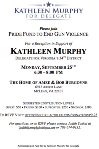 Join Gun Violence Prevention Advocates to Support Kathleen Murphy @ The Home of Amee & Bob Burgoyne | McLean | Virginia | United States