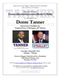 Donte Tanner Reception with Governor Martin O'Malley @ Home of Maggie Godbold and Steve Bershader | Herndon | Virginia | United States