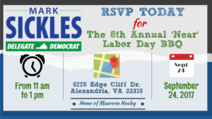 Delegate Sickles' 8th Annual 'Near' Labor Day BBQ @ Home of Maureen Healey
