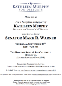Reception with Senator Warner to Benefit Kathleen Murphy @ Home of Sybil & Joe Caldwell | McLean | Virginia | United States