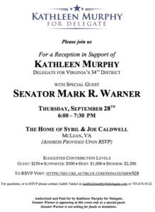 Reception with Senator Warner to Benefit Kathleen Murphy @ Home of Sybil & Joe Caldwell | McLean | Virginia | United States