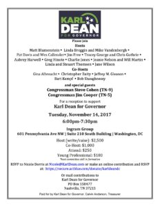 Reception to support Karl Dean for Governor of Tennessee @ Karl Dean for Governor | Washington | District of Columbia | United States