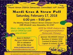 MT. VERNON DISTRICT DEMOCRATIC COMMITTEE  10TH ANNUAL MARDIS GRAS & STRAW POLL @ The Meeting House of Mt. Vernon Unitarian Church | Alexandria | Virginia | United States