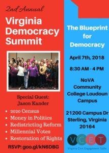 2nd Annual Virginia Democracy Summit @ Northern Virginia Community College, Loudoun Campus, Sterling, VA | Sterling | Virginia | United States