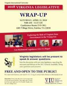 2018 State Legislators Wrap-up Forum @ Virginia International University  Conference Room (VD 301) | Fairfax | Virginia | United States