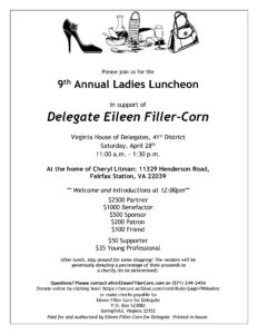 Delegate Eileen Filler-Corn's 9th Annual Ladies Lunch @ The Home of Cheryl Litman | Fairfax Station | Virginia | United States