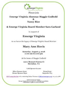 EmergeVA Event Honoring Legacy of Mary Ann Hovis @ Home of Maggie Godbold and Steve Bershader | Herndon | Virginia | United States