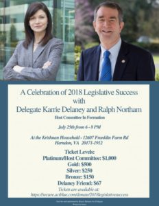 A Celebration of 2018 Legislative Success with Delegate Karrie Delaney and Ralph Northam @ The Kirshnan Household    Herndon   Virginia   United States
