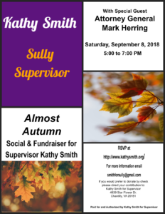 Supervisor Kathy Smith's Almost Autumn Event with Mark Herring @ At the Home of Maggie Godbold | Herndon | Virginia | United States