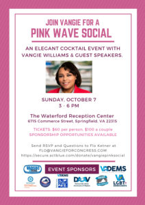 Vangie Williams Pink Wave Social @ The Waterford Reception Center | Springfield | Virginia | United States