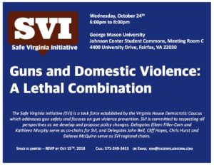 """Safe Virginia Initiative (SVI) Event at George Mason University, Oct. 24th,  6-8 pm, """"Guns and Domestic Violence: A Lethal Combination"""" @ Johnson Center Student Commons, Meeting Room C  