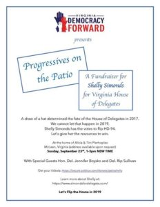 """Progressives on the Patio"" fundraiser for Shelly Simonds @ Home of Alicia & Tim Plerhoples (address provided upon RSVP) 
