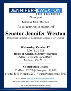 Flip the 10th!  Fundraiser for Jennifer Wexton in McLean! @ Bierman Household (McLean, VA)
