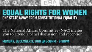 "National Affairs Event, ""Equal Rights for Women: One State away from Constitutional Equality"" @  Woman's National Democratic Club  