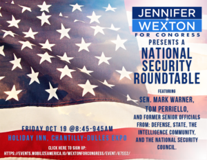 Jennifer Wexton National Security Roundtable with Senator Mark Warner, Tom Perriello & Fmr. Officials @ Holiday Inn Chantilly-Dulles Expo   Chantilly   Virginia   United States