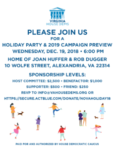 Virginia House Democratic Caucus Holiday Party and 2019 Campaign Preview @ Home of Joan Huffer and Rob Dugger