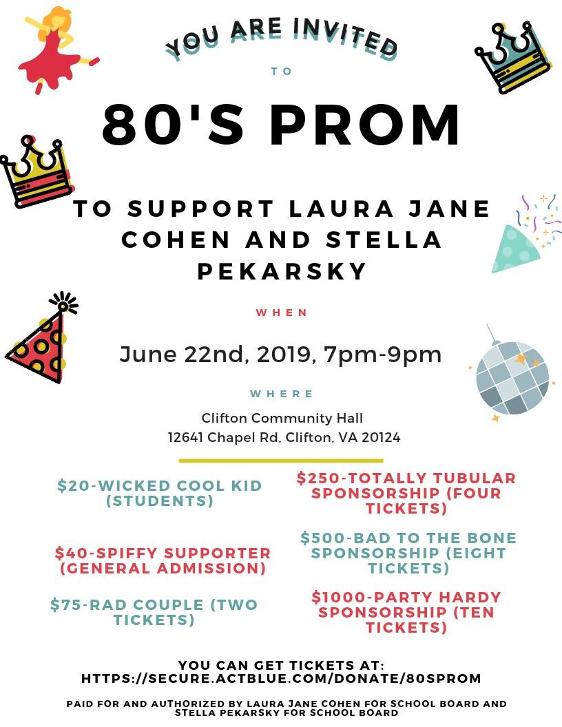 80's Prom to support Laura Jane Cohen and Stella Pekarsky for School Board @ Clifton Community Hall