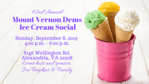 42nd Annual Mount Vernon Dems Ice Cream Social @ Home of Joe Tompkins & Family