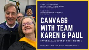 Mt Vernon Canvass for Paul Krizek and Karen Corbett Sanders @ South County Campaign Office