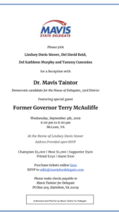 Fundraiser for Mavis Taintor for Delegate with Terry McAuliffe @ Home of Lindsey Davis Stover