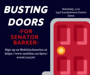 """""""Busting Doors"""" for Senator Barker! @ Fairfax Field Office"""