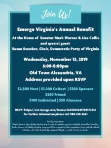 Emerge Virginia Annual Benefit Hosted by Senator Mark Warner and Lisa Collis @ Home of Sen. Mark Warner & Lisa Collis