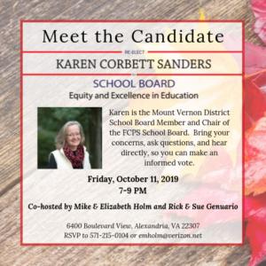 Meet & Greet for Karen Corbett Sanders cohosted by Elizabeth & Mike Holm and Sue & Rick Genuario