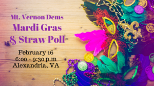 Mt. Vernon Dems Mardi Gras and Straw Poll @ The Meeting House at the Mt. Vernon Unitarian Church
