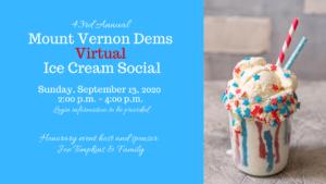 Mount Vernon District Democratic Committee 2020 Ice Cream Social (Virtual!) @ Zoom