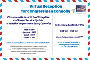 Virtual Reception for Gerry Connolly @ Zoom