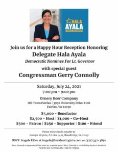 Happy Hour Reception for Hala Ayala with Congressman Connolly @ Ornery Beer Company