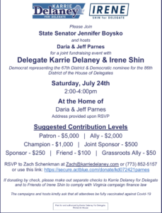 A joint fundraising event for Delegate Karrie Delaney & Irene Shin for their campaign for delegate @ Jeff and Daria Parnes' house