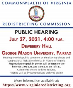 Virginia Redistricting Commission Public Hearing: Northern Virginia @ Dewberry Hall (Johnson Center), George Mason University