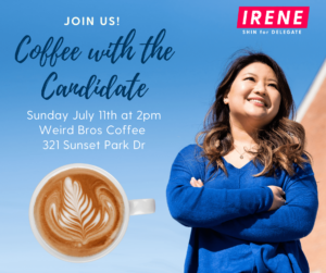Join Irene Shin for a Coffee with the Candidate @ Weird Bros Coffee Roasting Factory