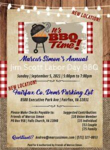 Marcus Simon's Annual Jim Scott Labor Day BBQ @ Parking Lot @ Fairfax County Democratic Committee